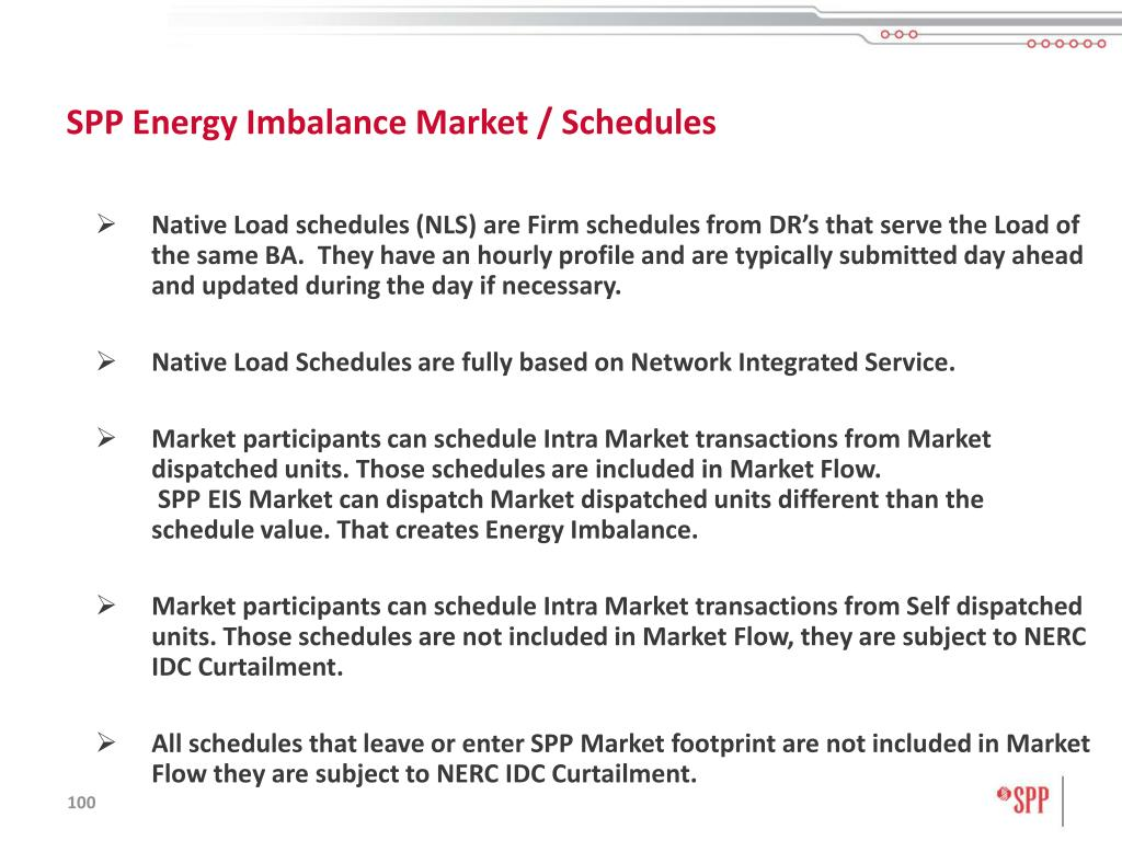 SPP Energy Imbalance Market / Schedules