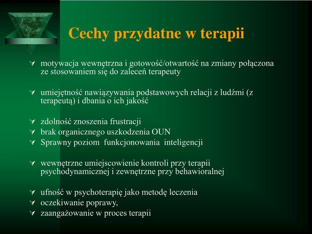 Cechy przydatne w terapii