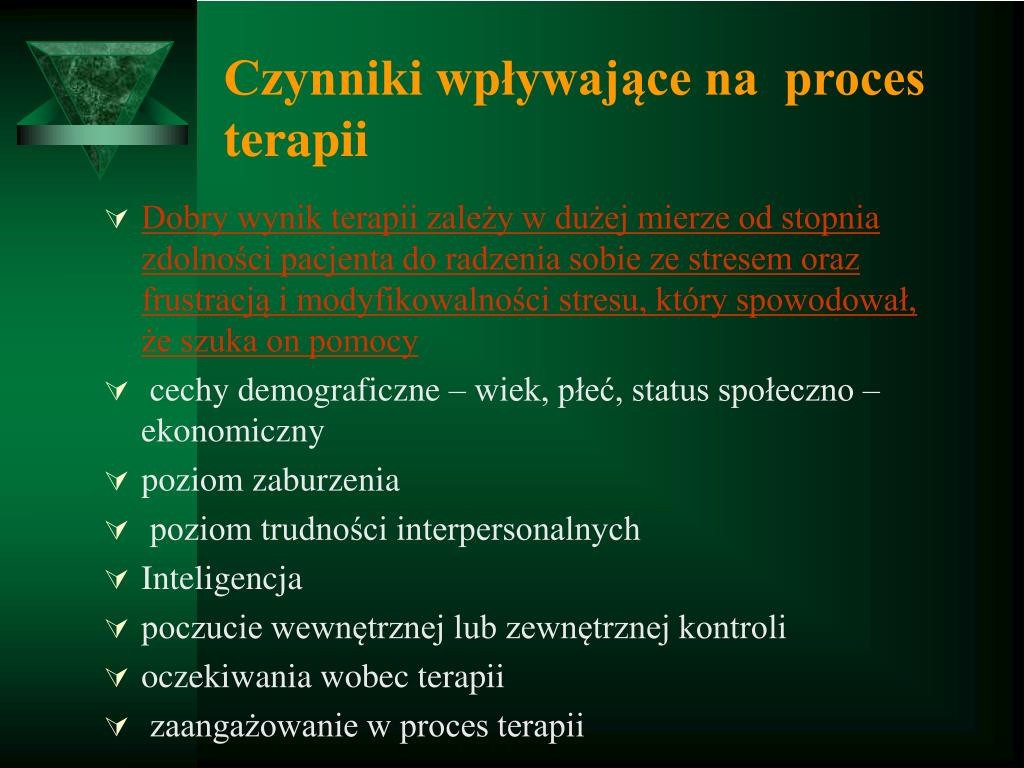 Czynniki wpływające na  proces terapii