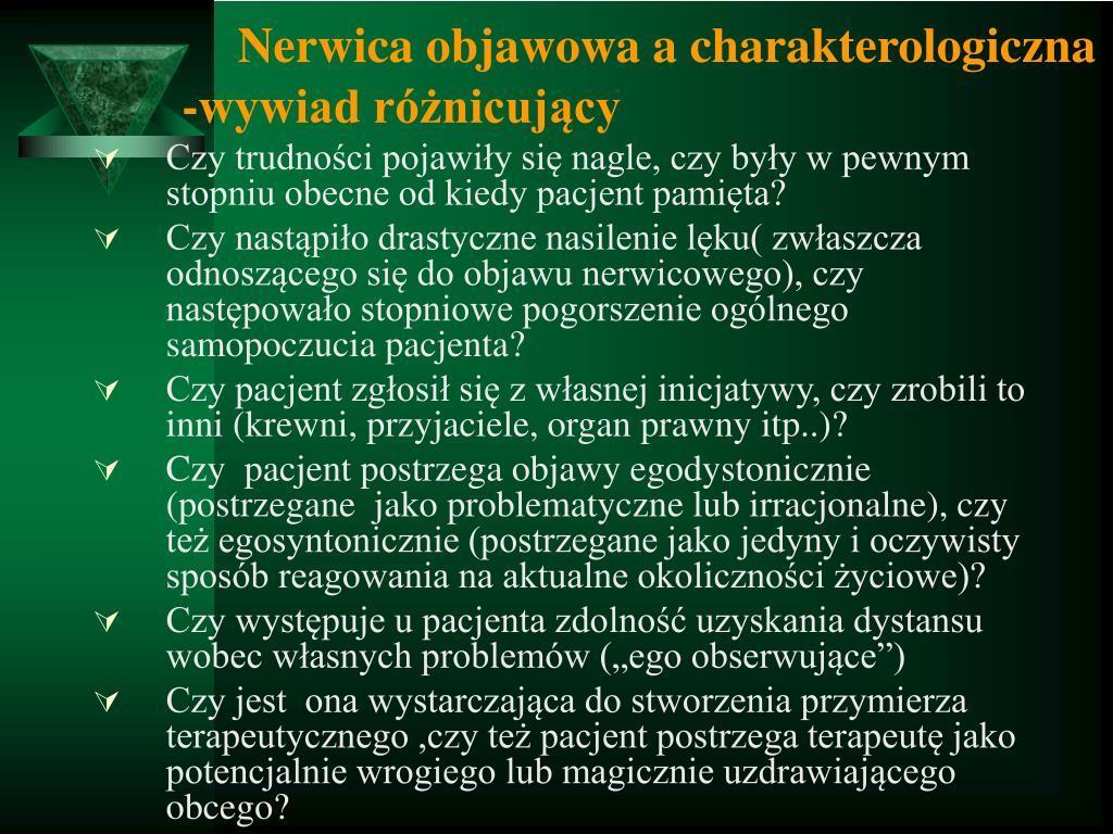 Nerwica objawowa a charakterologiczna  -wywiad różnicujący