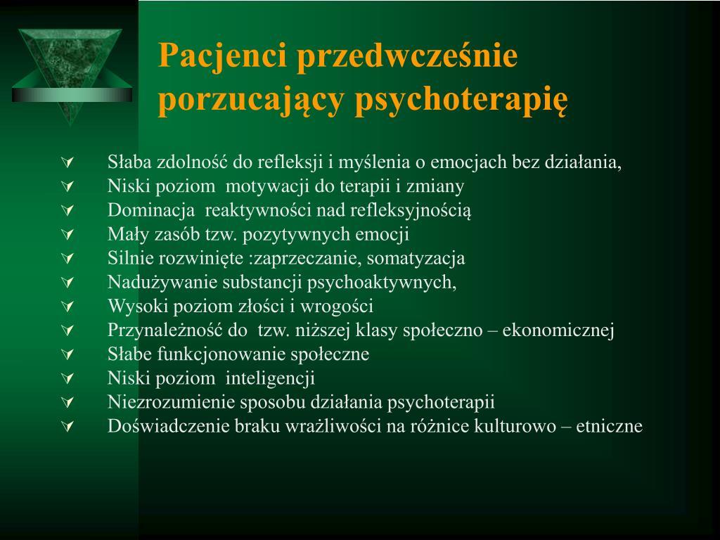 Pacjenci przedwcześnie porzucający psychoterapię