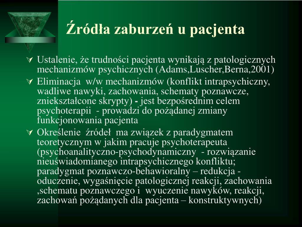 Źródła zaburzeń u pacjenta
