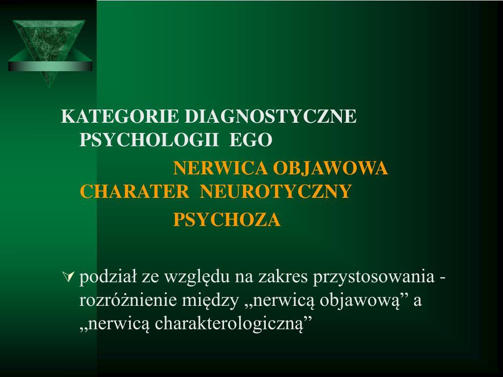 KATEGORIE DIAGNOSTYCZNE PSYCHOLOGII  EGO