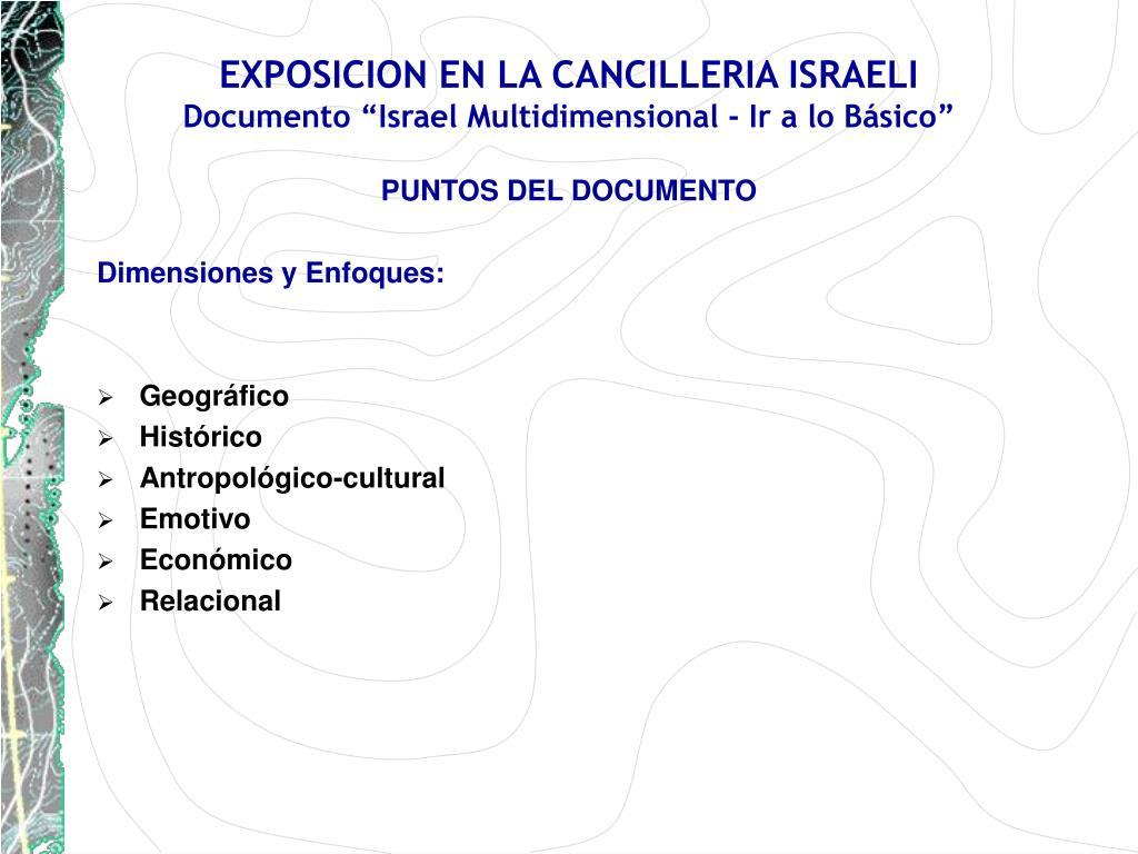 EXPOSICION EN LA CANCILLERIA ISRAELI