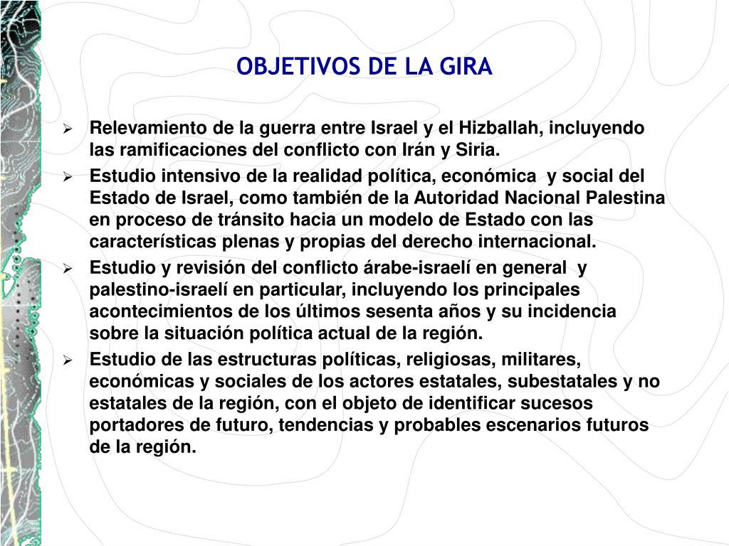 OBJETIVOS DE LA GIRA