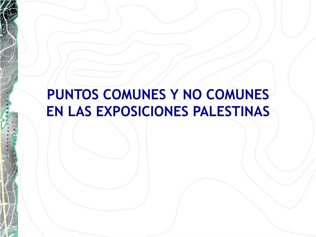 PUNTOS COMUNES Y NO COMUNES                                                      EN LAS EXPOSICIONES PALESTINAS