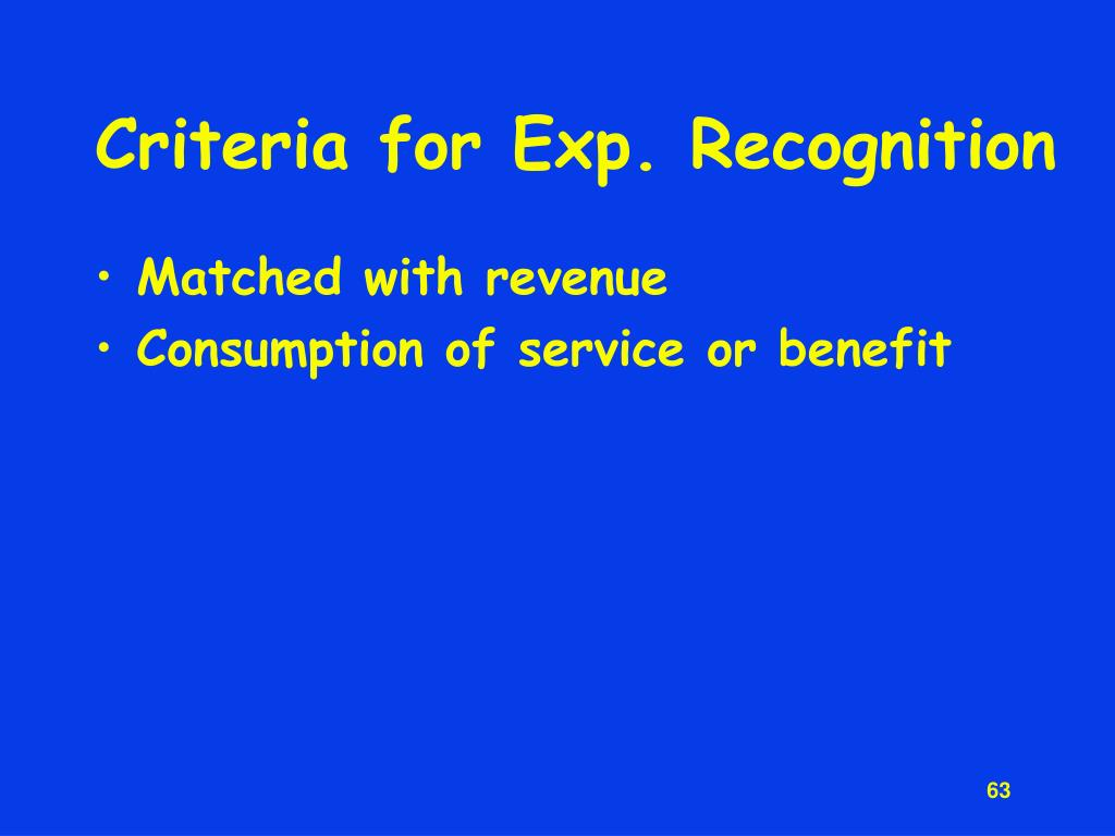 Criteria for Exp. Recognition