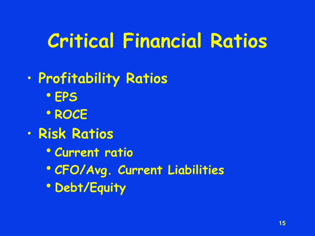 Critical Financial Ratios