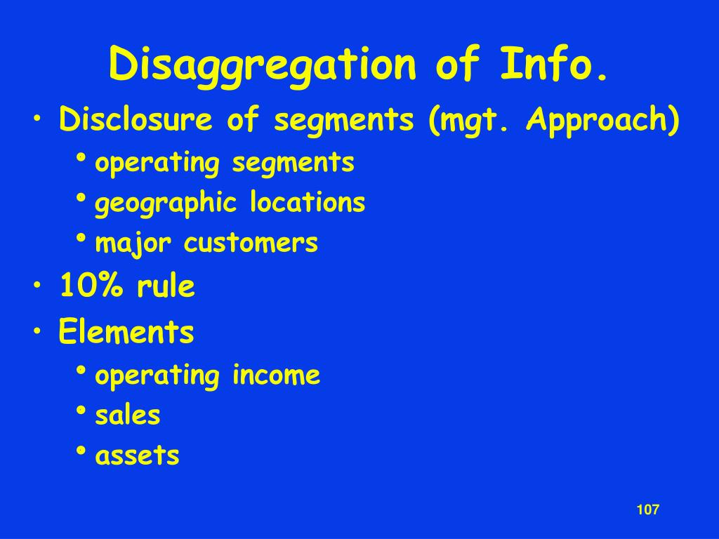 Disaggregation of Info.