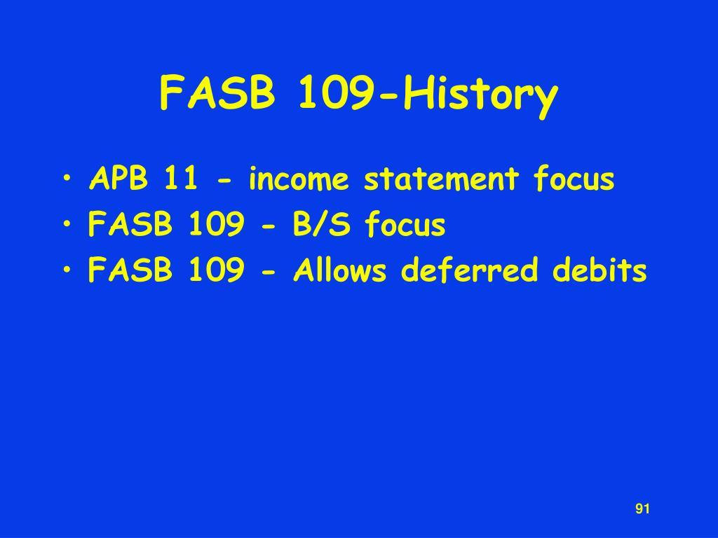 FASB 109-History