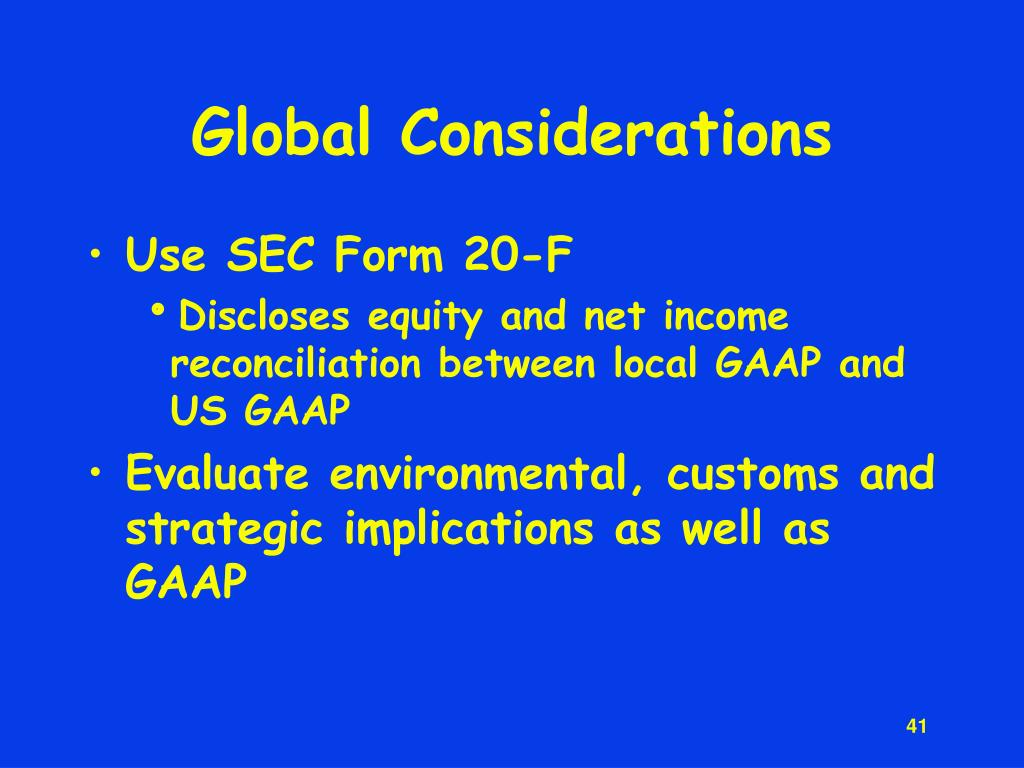 Global Considerations