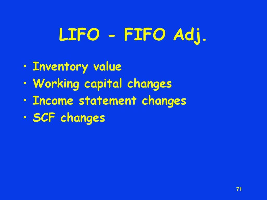 LIFO - FIFO Adj.