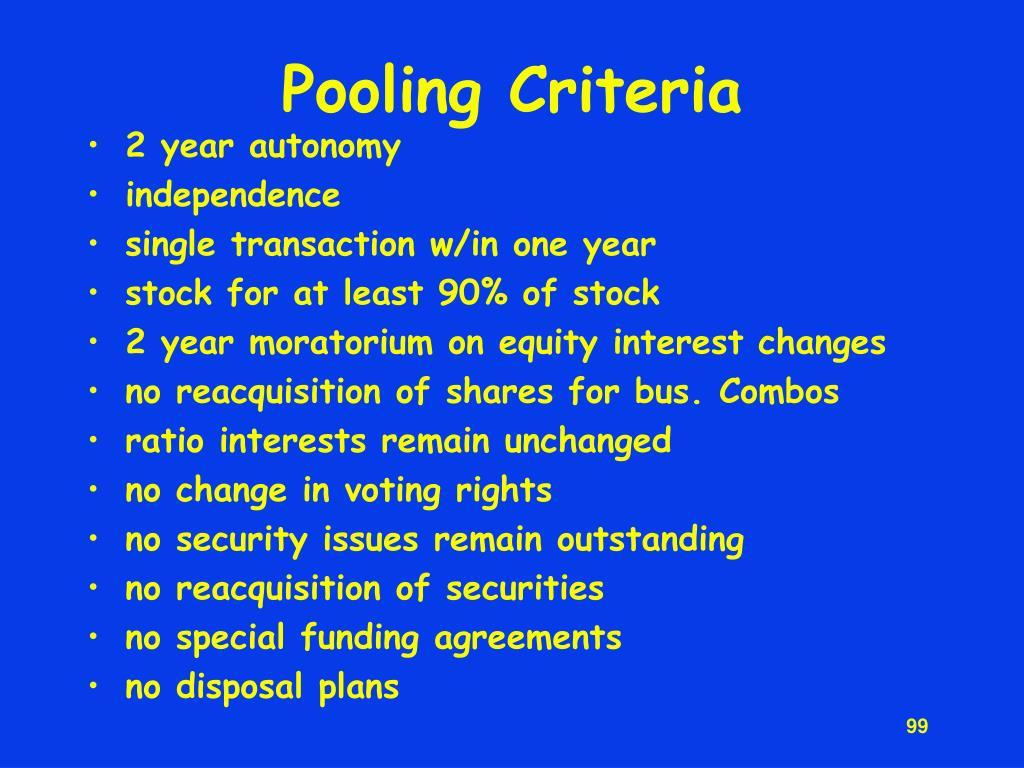 Pooling Criteria