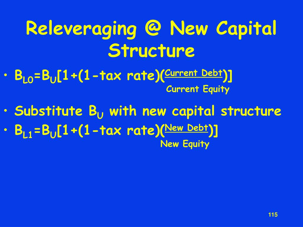 Releveraging @ New Capital Structure