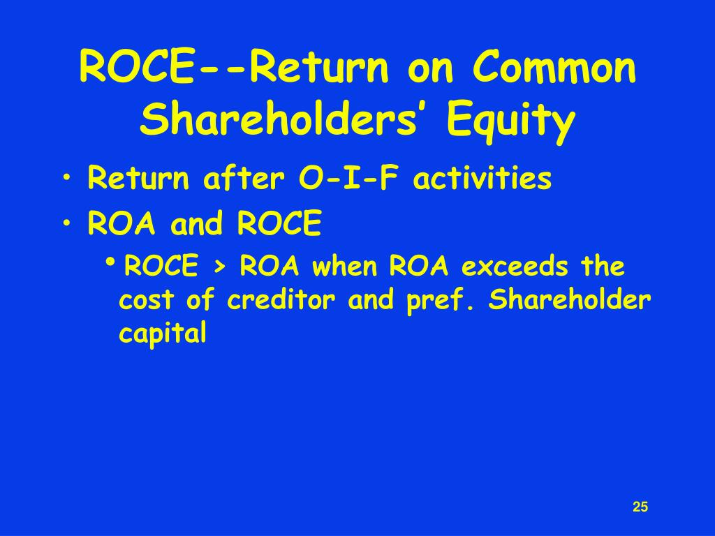 ROCE--Return on Common Shareholders' Equity