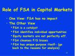role of fsa in capital markets