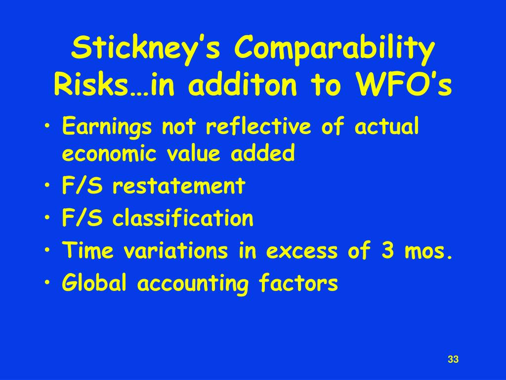 Stickney's Comparability Risks…in additon to WFO's