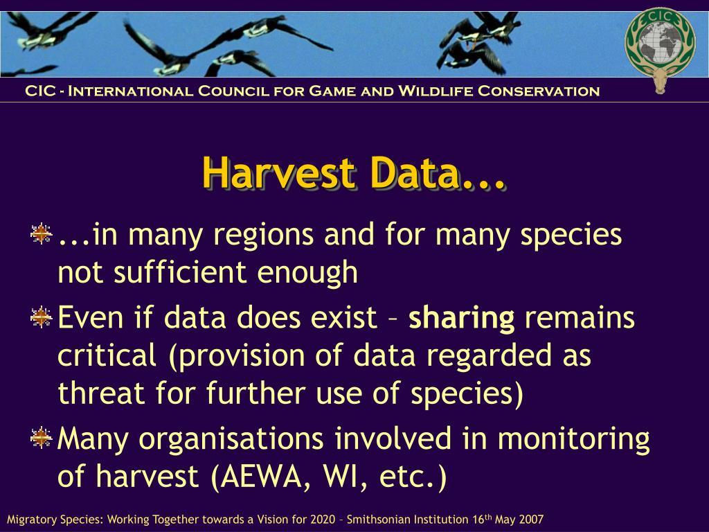 Harvest Data...
