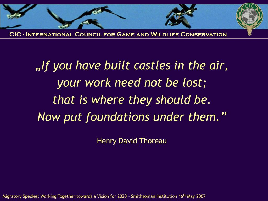 """If you have built castles in the air,"