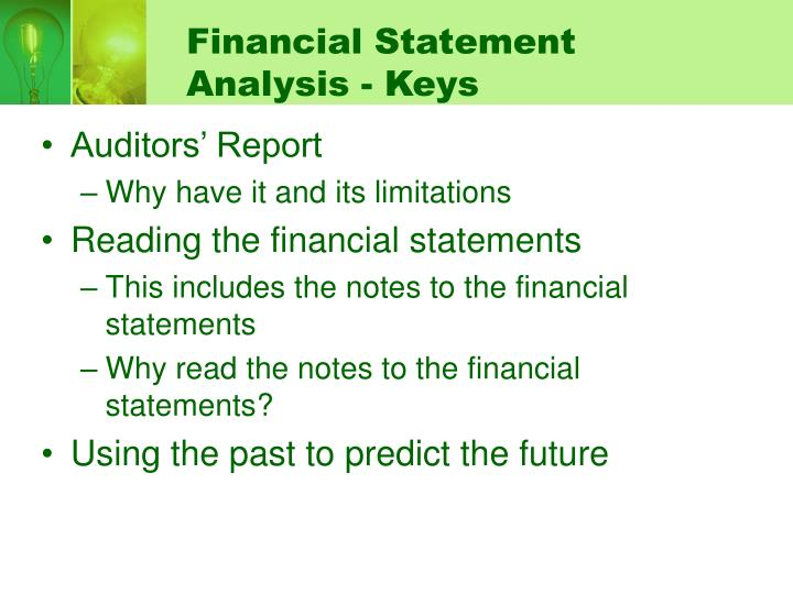 Financial statement analysis keys