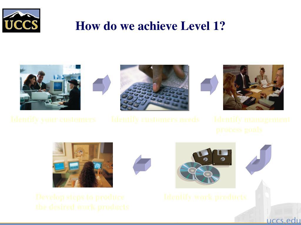 How do we achieve Level 1?
