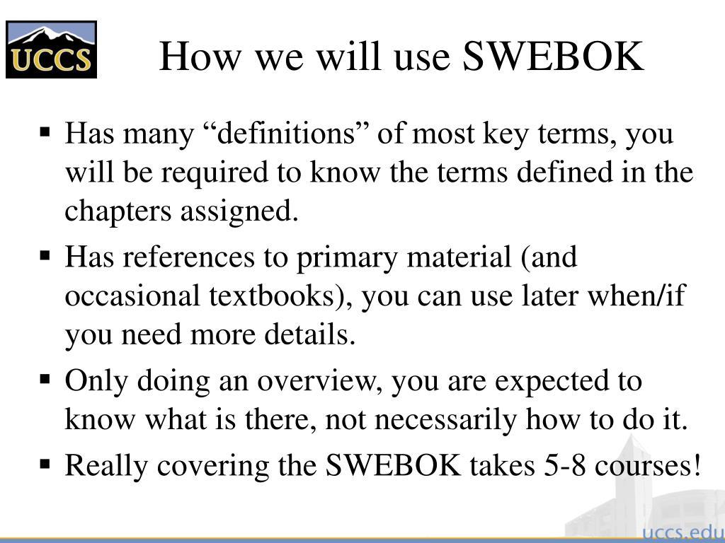 How we will use SWEBOK