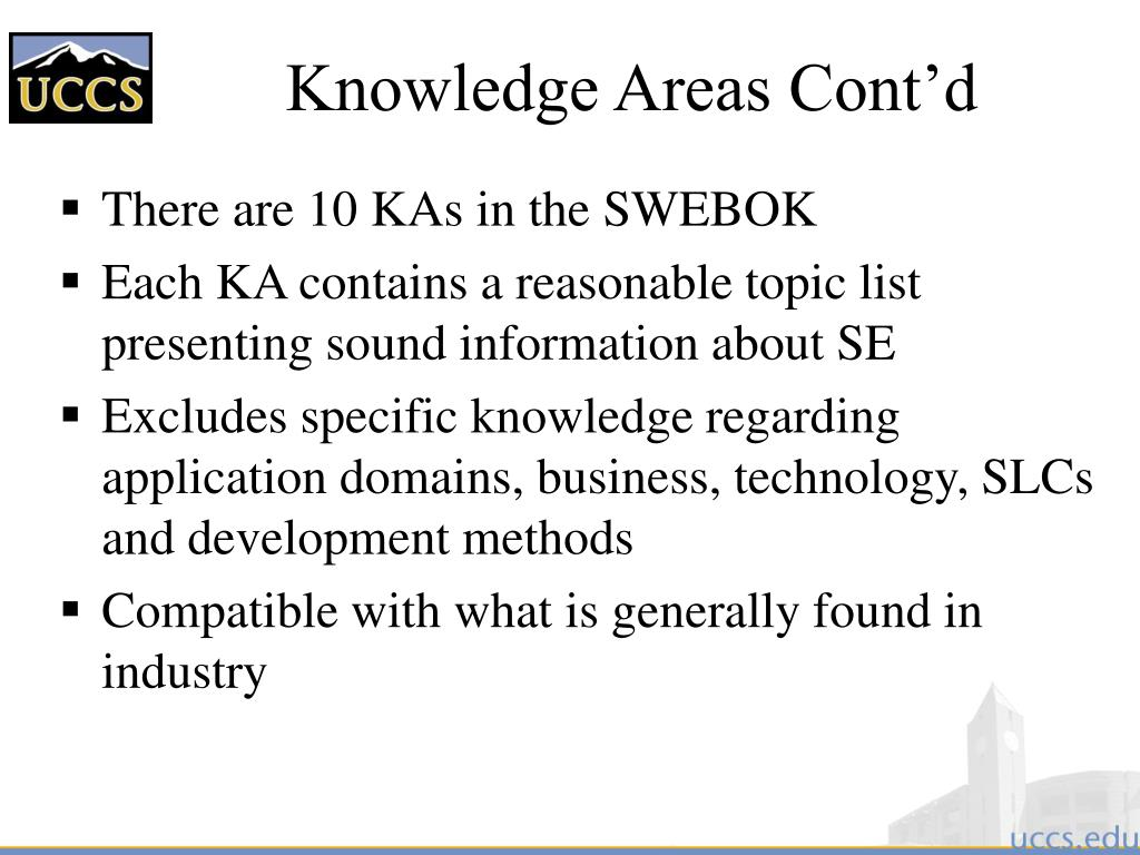 Knowledge Areas Cont'd