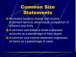common size statements