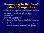 comparing to the firm s major competitors