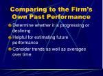 comparing to the firm s own past performance