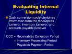 evaluating internal liquidity26