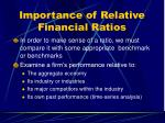 importance of relative financial ratios