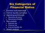 six categories of financial ratios