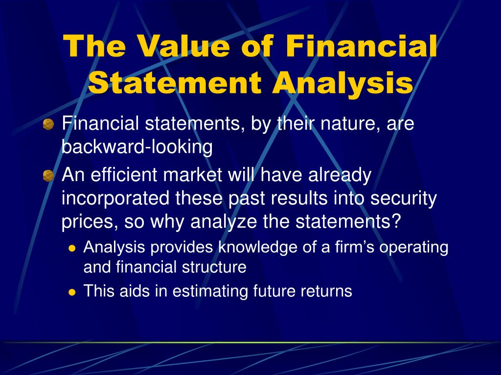 The Value of Financial Statement Analysis