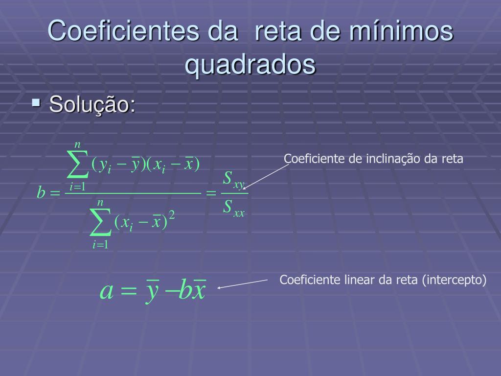 Coeficientes da  reta de mínimos quadrados