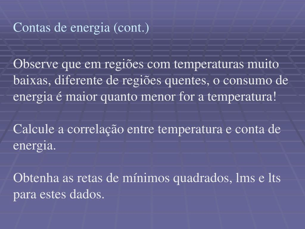 Contas de energia (cont.)