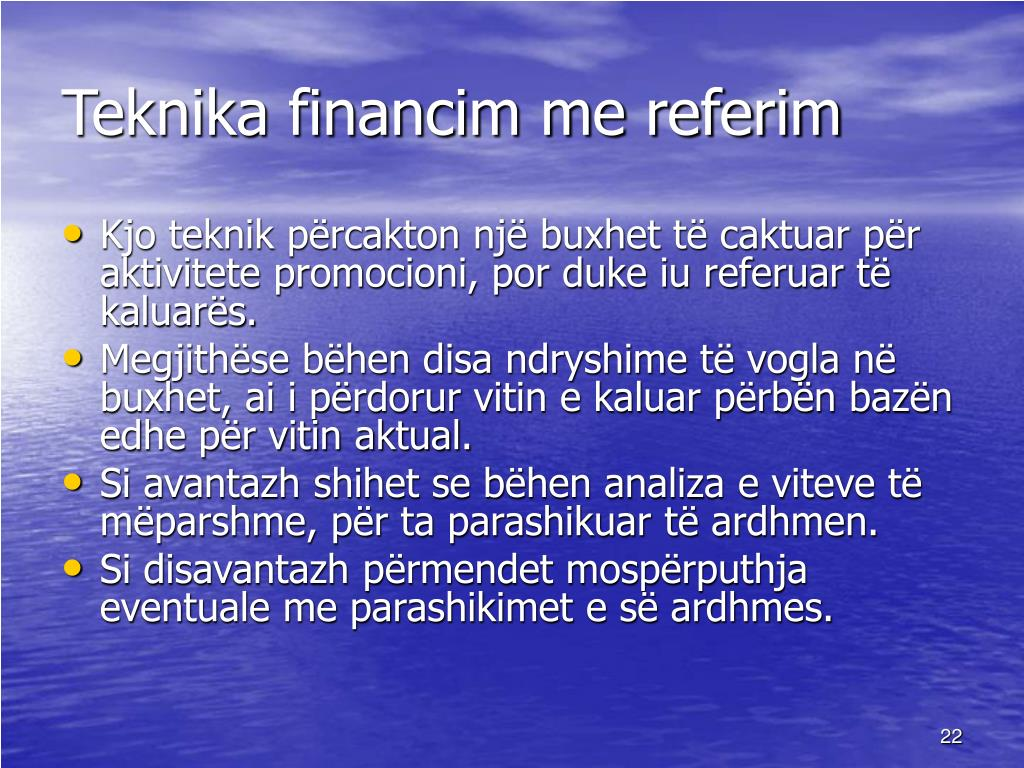 Teknika financim me referim