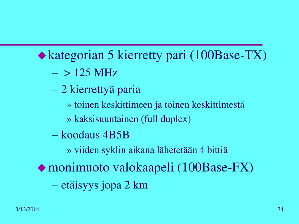 kategorian 5 kierretty pari (100Base-TX)