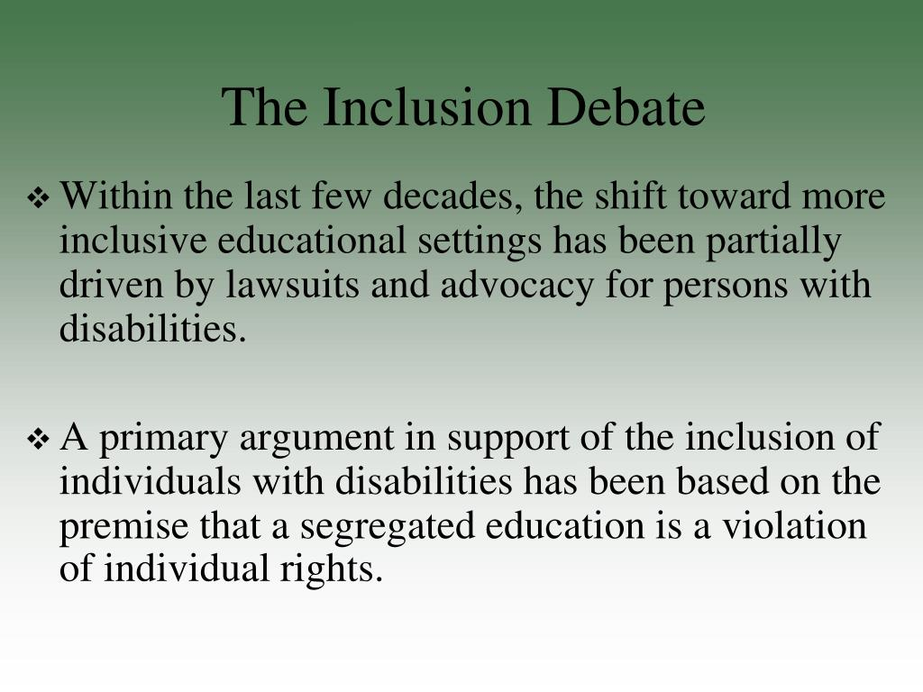 special education inclusion vs self contained Inclusion vs self-contained classrooms one issue in education today is whether or not students with special needs should be taught through inclusion or be kept in a.