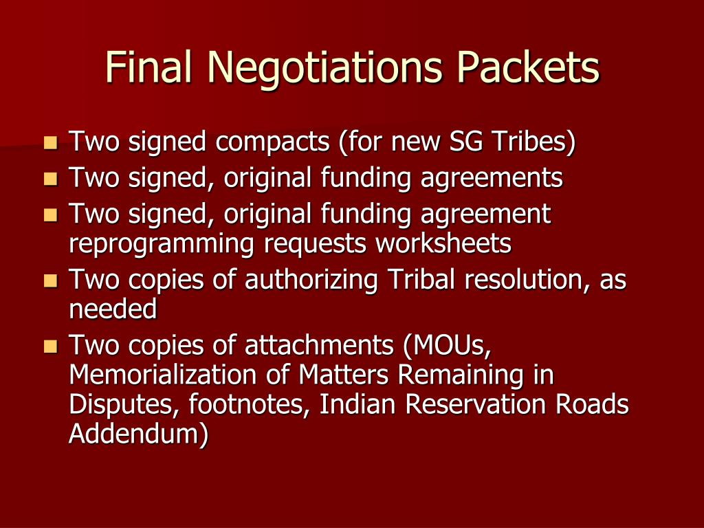 Final Negotiations Packets