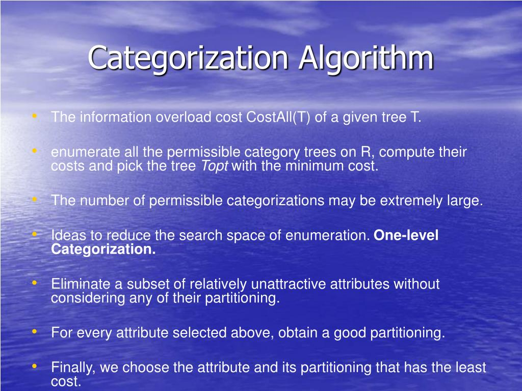 Categorization Algorithm