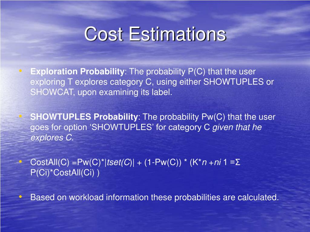Cost Estimations