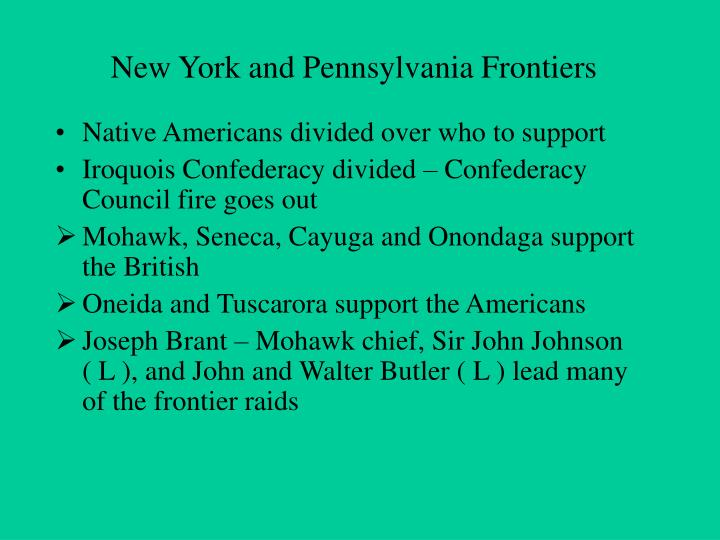 New York and Pennsylvania Frontiers