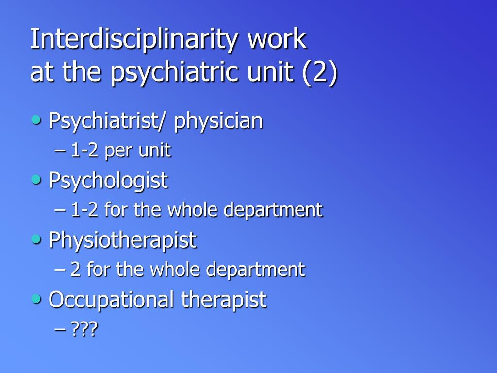 Interdisciplinarity work