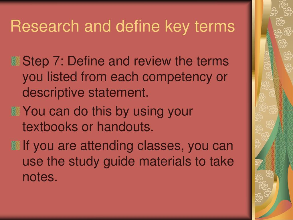 Define key terms research paper