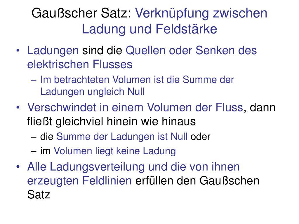 Gaußscher Satz: