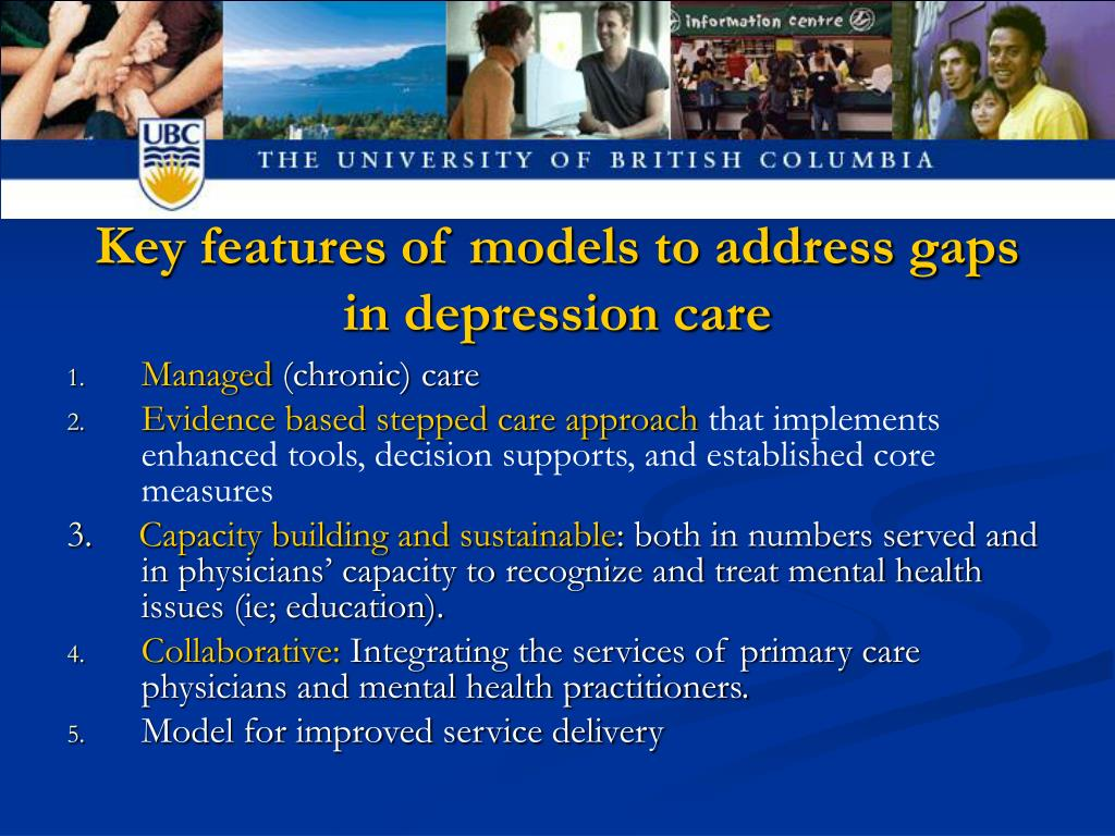 Key features of models to address gaps in depression care