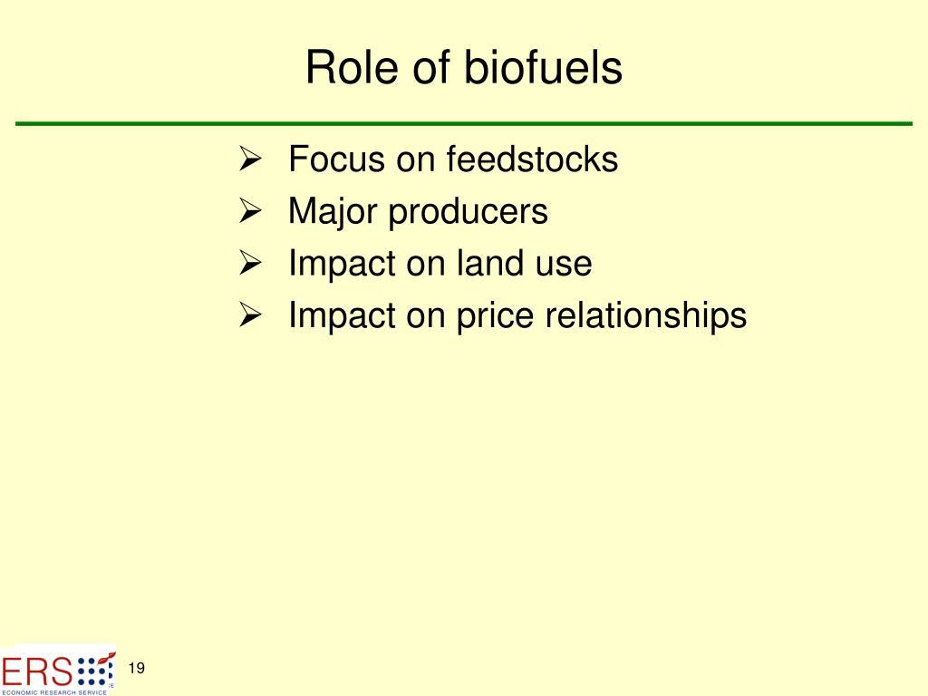 Role of biofuels