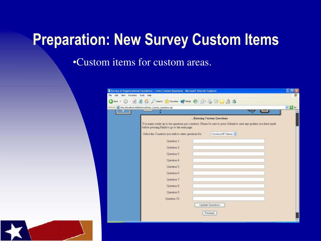 Preparation: New Survey Custom Items