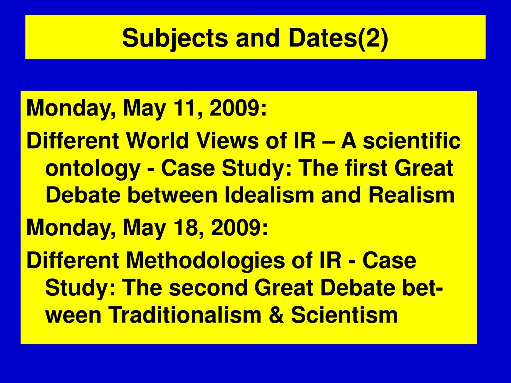 Subjects and Dates(2)
